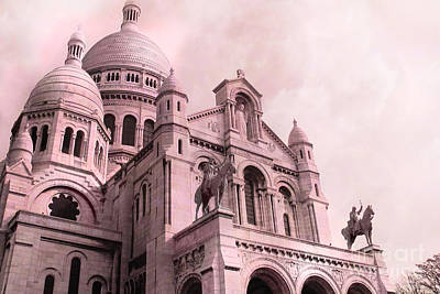 Paris Cathedral Sacre Coeur - Montmartre District Poster by Kathy Fornal