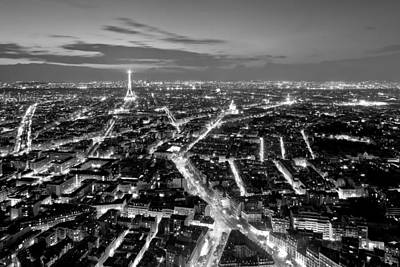 Poster featuring the photograph Paris Cityscape At Night / Paris by Barry O Carroll