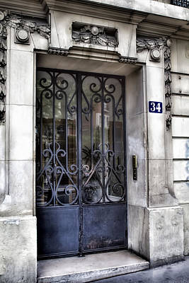 Paris Door - Blue Number 34 Poster by Georgia Fowler