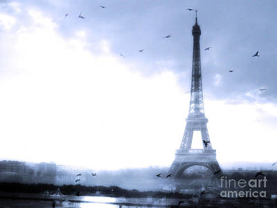 Paris Dreamy Blue Eiffel Tower With Birds Flying - Surreal Fantasy Eiffel Tower Pastel Blue Poster by Kathy Fornal