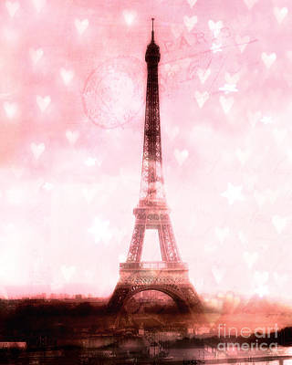Paris Dreamy Pink Eiffel Tower With Hearts And Stars - Paris Pink Eiffel Tower Romantic Pink Art Poster by Kathy Fornal