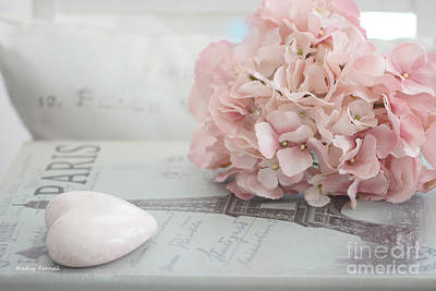 Paris Dreamy Pink Hydrangeas And Pink Heart - Paris Romantic Cottage Chic Pastel Floral Art Poster by Kathy Fornal