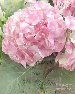 Paris Dreamy Pink Hydrangeas Floral Art - Paris Romantic Shabby Chic Pink Hydrangea Fine Art Poster by Kathy Fornal