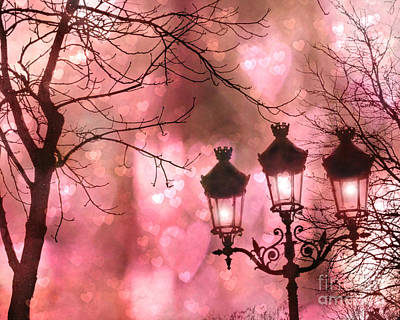 Paris Dreamy Romantic Pink Black Street Lamps - Paris Fantasy Pink Night Lanterns Poster by Kathy Fornal