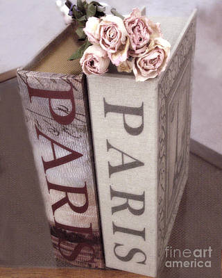 Paris Dreamy Romantic Roses And Paris Books Shabby Chic Cottage  Poster by Kathy Fornal