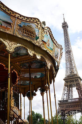 Paris Eiffel Tower Carousel Merry Go Round - Paris Carousels Champ Des Mars Eiffel Tower  Poster by Kathy Fornal