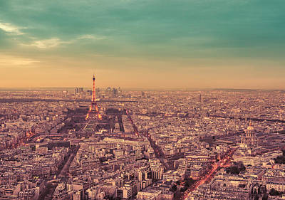 Paris - Eiffel Tower And Cityscape At Sunset Poster