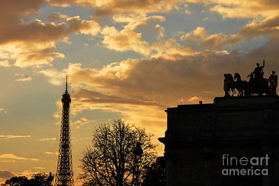 Paris Eiffel Tower Autumn Fall Sunset Clouds Cityscape - Eiffel Tower Autumn Sunset Architecture Poster by Kathy Fornal