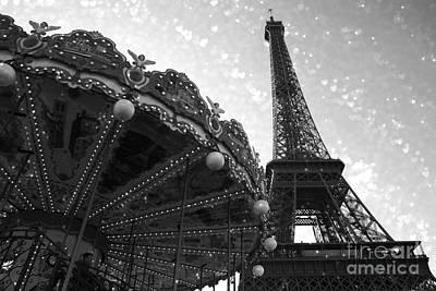 Paris Eiffel Tower Carousel Black White Surreal Photo - Eiffel Tower Black White Stars And Hearts Poster by Kathy Fornal