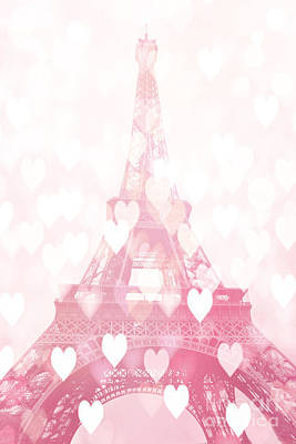 Paris Eiffel Tower Dreamy Pink Hearts Valentine - Paris In Love Eiffel Tower And Hearts  Poster by Kathy Fornal