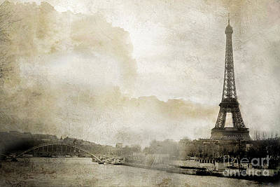Paris Eiffel Tower Dreamy Winter White Textured Watercolor Painted Landscape - Paris Winter White  Poster by Kathy Fornal