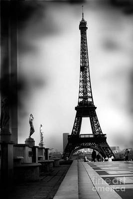 Paris Eiffel Tower - Surreal Black And White Paris Eiffel Tower Photography Poster by Kathy Fornal