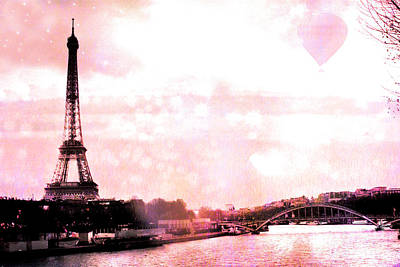 Paris Eiffel Tower Pink - Dreamy Pink Eiffel Tower With Hot Air Balloon Poster by Kathy Fornal