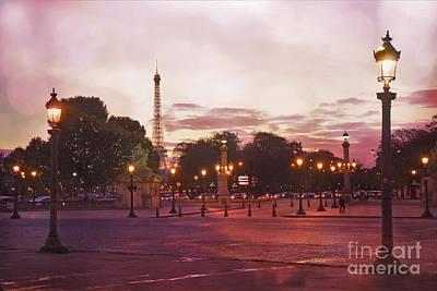 Paris Eiffel Tower Place De La Concorde Evening Pink Sunset Lanterns - Paris Pink Lantern Lights Poster by Kathy Fornal