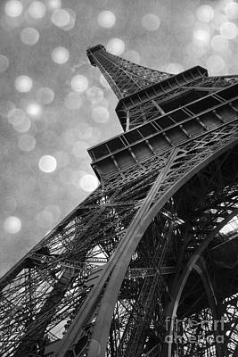 Paris Eiffel Tower Surreal Black And White Photography - Eiffel Tower Abstract Architecture Poster by Kathy Fornal
