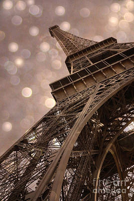 Paris Eiffel Tower Surreal Sepia Bokeh - Romantic Sepia Fantasy Eiffel Tower Photography Poster by Kathy Fornal