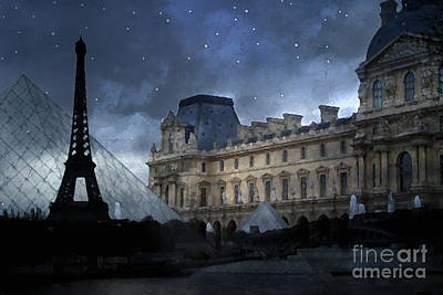 Paris Eiffel Tower With Louvre Museum Montage Photo Painting - Paris Architecture And Landmarks  Poster