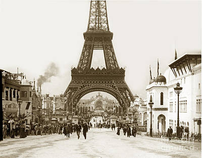 Poster featuring the photograph Paris Exposition Eiffel Tower Paris France 1900  Historical Photos by California Views Mr Pat Hathaway Archives