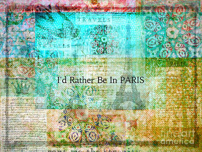 Paris France With Eiffel Tower Themed Print Poster