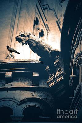Paris Gargoyles - Gothic Paris Gargoyle With Raven - Sacre Coeur Cathedral - Montmartre Poster by Kathy Fornal