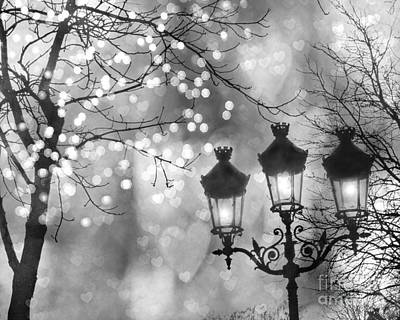Paris Christmas Sparkle Lights Street Lanterns - Paris Holiday Street Lamps Black And White Lights Poster by Kathy Fornal