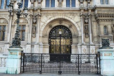 Paris Hotel De Ville Architecture Door  - Hotel Deville Art Deco Art Nouveau Poster by Kathy Fornal