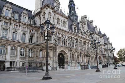Paris Hotel De Ville Ornate Building - Paris Hotel Deville Architecture  Poster by Kathy Fornal