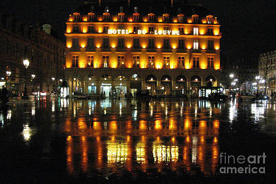 Paris Hotel Du Louvre Rainy Night Reflection - Paris Night Lights Street Photography Poster by Kathy Fornal