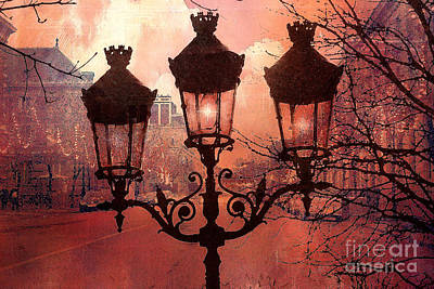 Paris Impressionistic Street Lamps Surreal Black Orange Street Lanterns Architecture Poster by Kathy Fornal