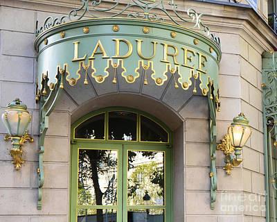 Paris Laduree Door Sign - Romantic Paris Laduree Green And Gold Door Sign And Lamps Poster