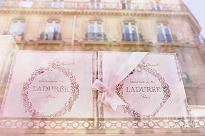 Paris Laduree Pink Boxes Wndow Display - Paris Laduree Macaron Shop Dreamy Pink Boxes Art Poster