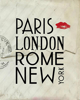 Paris London Rome And New York Poster