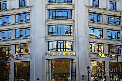 Paris Louis Vuitton Fashion Boutique - Louis Vuitton Designer Storefront In Paris Poster by Kathy Fornal