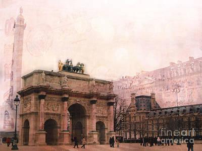 Paris Louvre Museum Arc De Triomphe Architecture Buildings - Watercolor Paris Landmarks Poster by Kathy Fornal