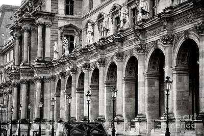 Paris Louvre Museum Architecture Street Lamps Lanterns - Louvre Museum Black And White  Poster by Kathy Fornal