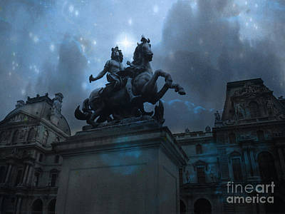 Paris Louvre Museum Blue Starry Night - King Louis Xiv Monument At Louvre Museum Poster by Kathy Fornal