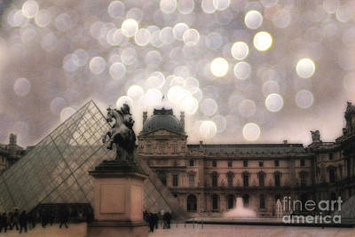 Paris Louvre Museum Pyramid - Dreamy Louvre Museum And Pyramids Poster by Kathy Fornal