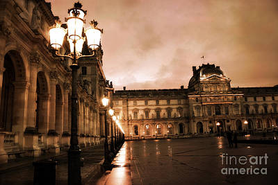 Paris Louvre Museum Sepia Night Lights Street Lamps - Paris Sepia Louvre Museum Night Photography Poster by Kathy Fornal