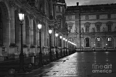 Paris Louvre Museum Street Lanterns Lamps - Paris Black And White Louvre Museum Street Lamps Poster by Kathy Fornal