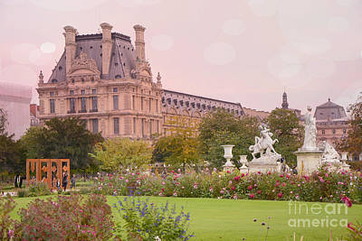 Paris Louvre Palace Tuileries Spring Gardens Floral Romantic Photography Poster