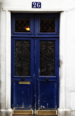 Paris Montmartre Door - Weathered Blue Poster by Georgia Fowler