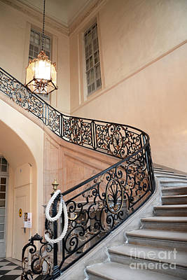 Paris Musee Rodin - Rodin Museum Grand Staircase Entryway Chandelier - Staircase At Rodin Museum Poster by Kathy Fornal
