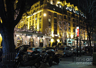 Paris Night Lights Street Scene Architecture And Vespas Poster