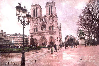 Paris Notre Dame Cathedral Courtyard - Notre Dame Courtyard Dreamy Pink  Poster by Kathy Fornal