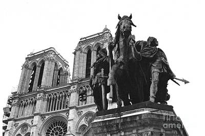 Paris Notre Dame Cathedral Monument - Charlemagne Horses Statue At Notre Dame Cathedral  Poster by Kathy Fornal