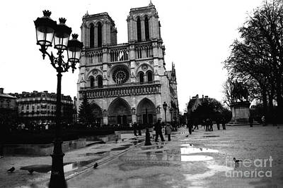 Paris Notre Dame Cathedral - Notre Dame Cathedral Courtyard Rainy Black And White Poster by Kathy Fornal