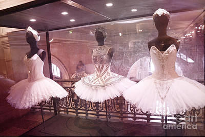 Paris Opera Ballerina Costumes - Paris Opera Garnier Ballet Tutu Costumes At Opera House Poster by Kathy Fornal
