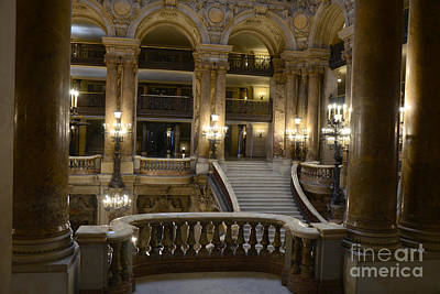Paris Opera House Interior Romantic Staircase Balconies And Architecture  Poster by Kathy Fornal