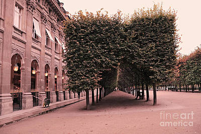 Paris Palais Royal French Palace - Paris Palais Royal Architecture - Paris Surreal Garden And Trees  Poster by Kathy Fornal