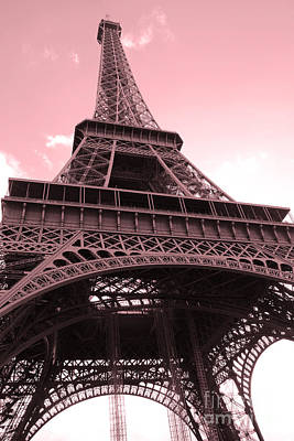 Paris Photography - Eiffel Tower Baby Pink Pastel Photography - Eiffel Tower Architecture Poster by Kathy Fornal